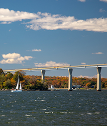 View of Solomons Island and Thomas Johnson Bridge from Shoreline